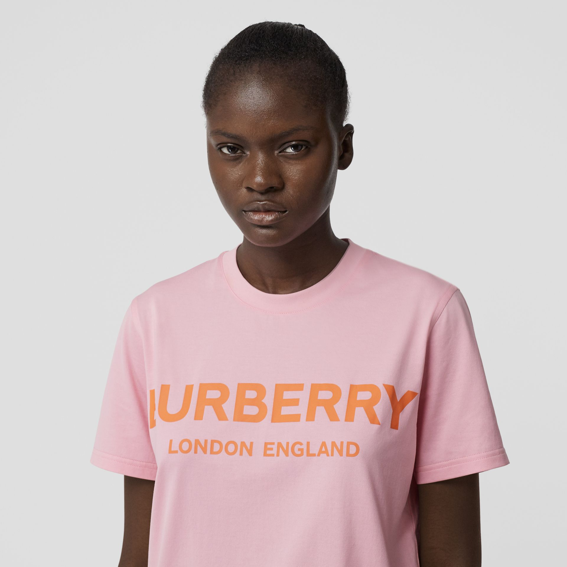 Logo Print Cotton T-shirt in Candy Pink - Women | Burberry - gallery image 1