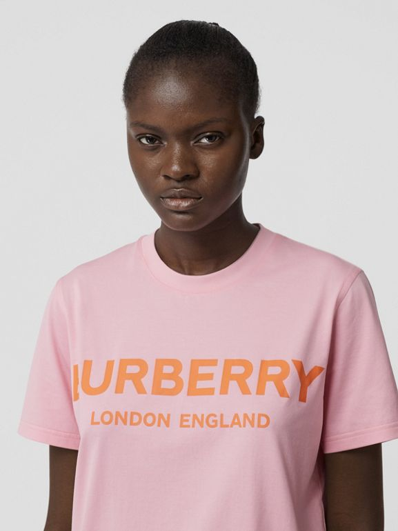 Logo Print Cotton T-shirt in Candy Pink - Women | Burberry - cell image 1