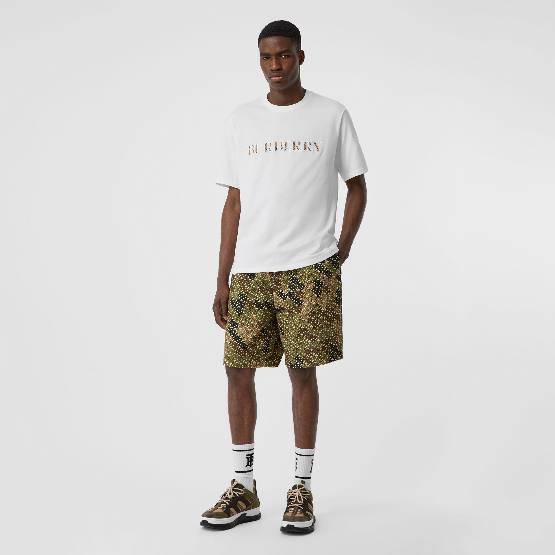 Embroidered Check Logo Cotton T-shirt in White - Men | Burberry United Kingdom - gallery image 4