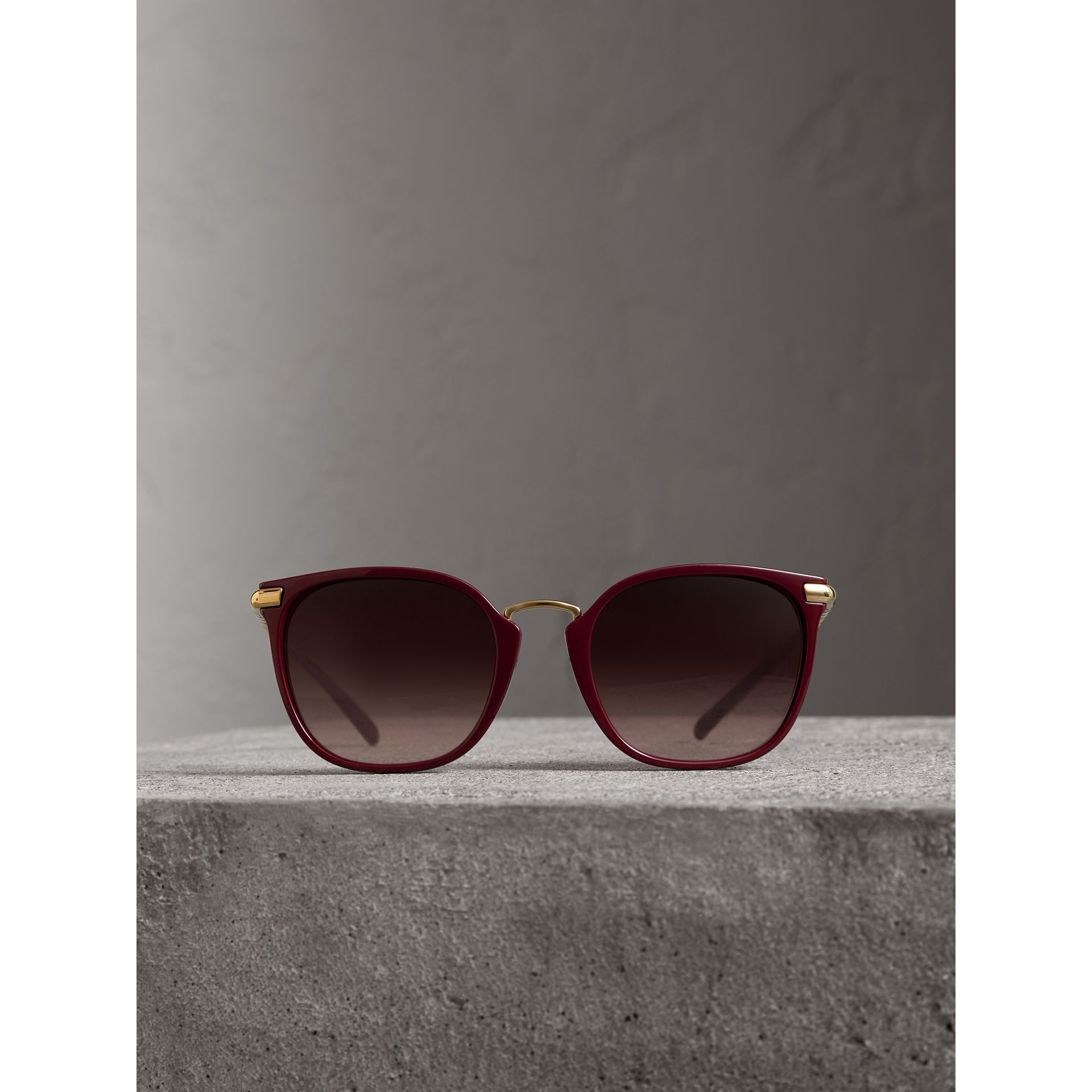 Check Detail Square Frame Sunglasses in Burgundy - Women | Burberry Canada - gallery image 3