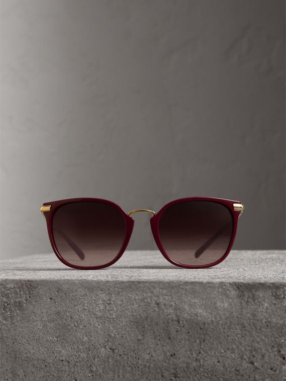 Check Detail Square Frame Sunglasses in Burgundy - Women | Burberry Australia - cell image 3