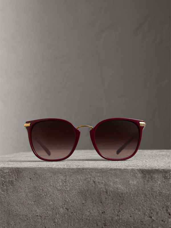 Check Detail Square Frame Sunglasses in Burgundy - Women | Burberry - cell image 3