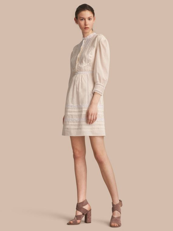 Lace Detail Cotton Voile Dress - Women | Burberry