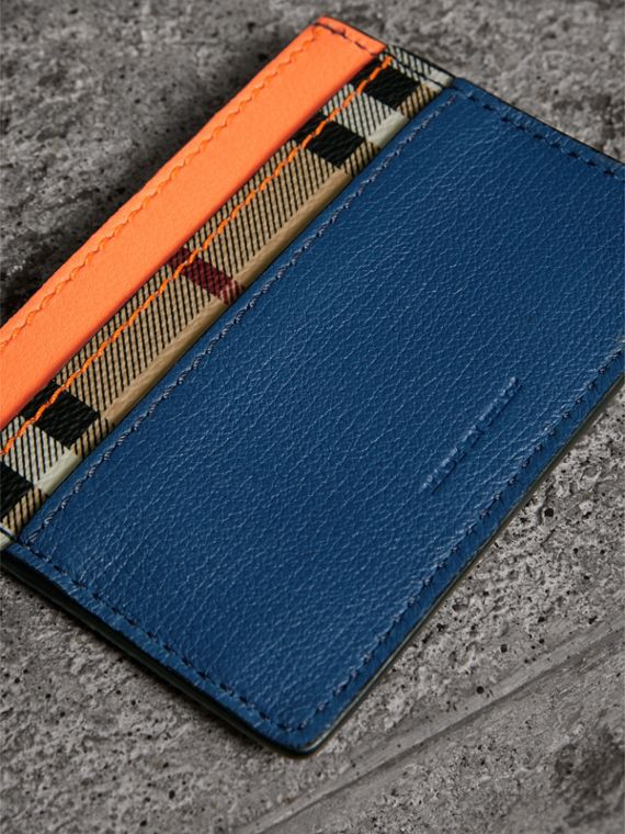 Haymarket Check and Two-tone Leather Card Case in Bright Orange | Burberry - cell image 2