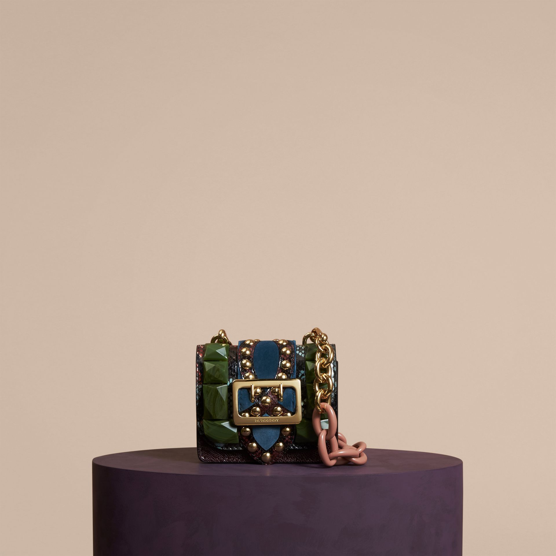 Turquoise green The Mini Square Buckle Bag in Ostrich, Snakeskin and Velvet - gallery image 7