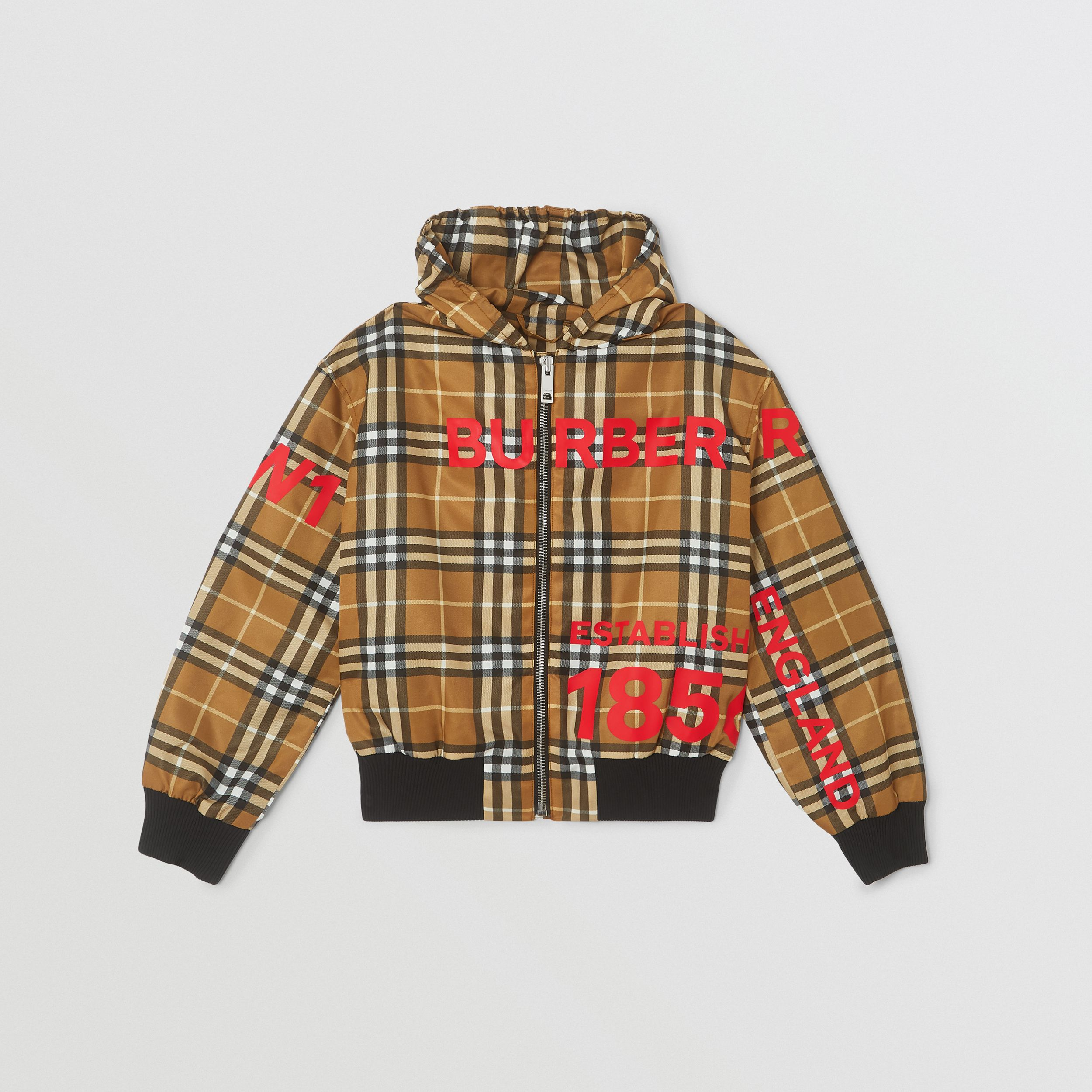 Horseferry Print Check Lightweight Hooded Jacket in Warm Walnut | Burberry - 1