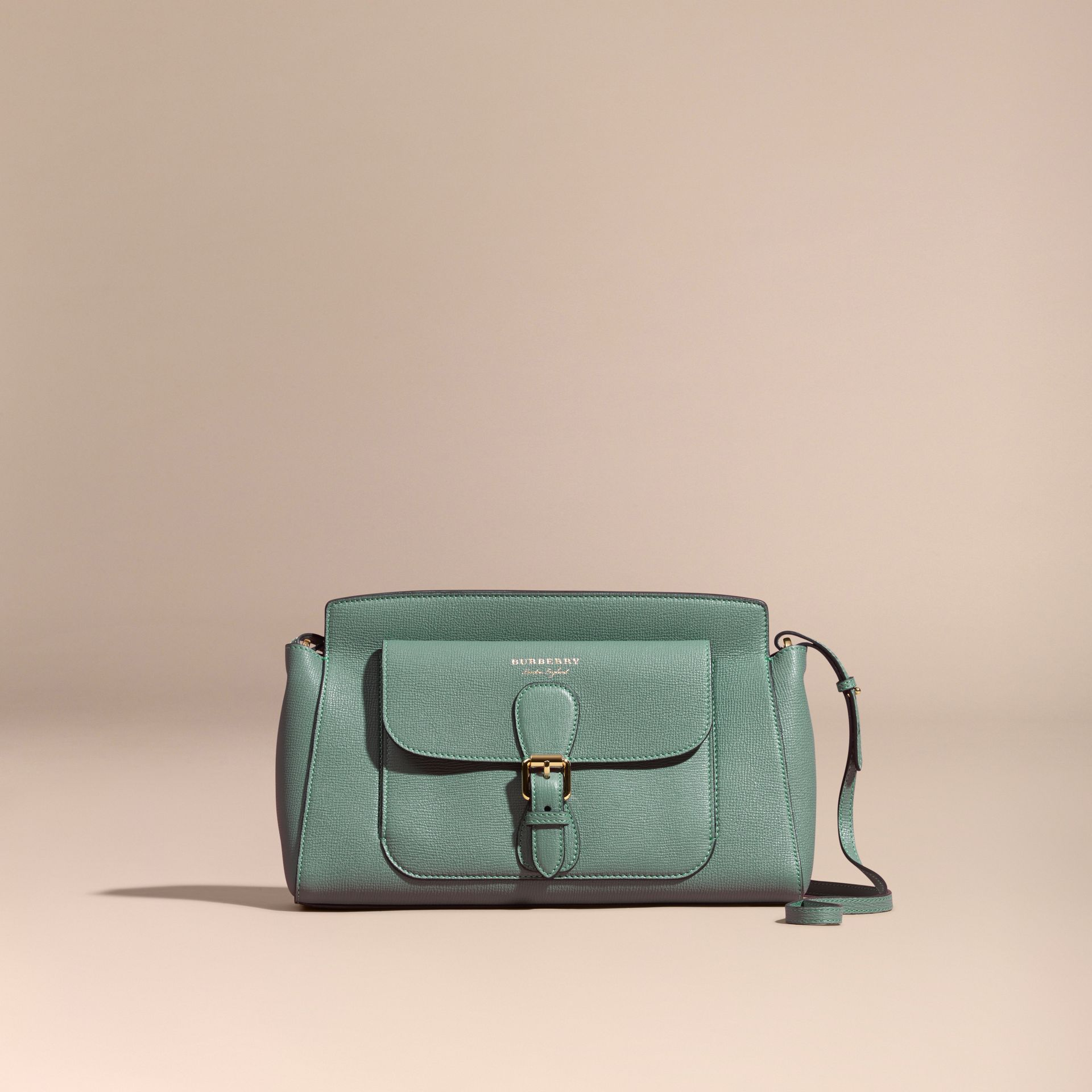 Smokey green The Saddle Clutch in Grainy Bonded Leather Smokey Green - gallery image 8