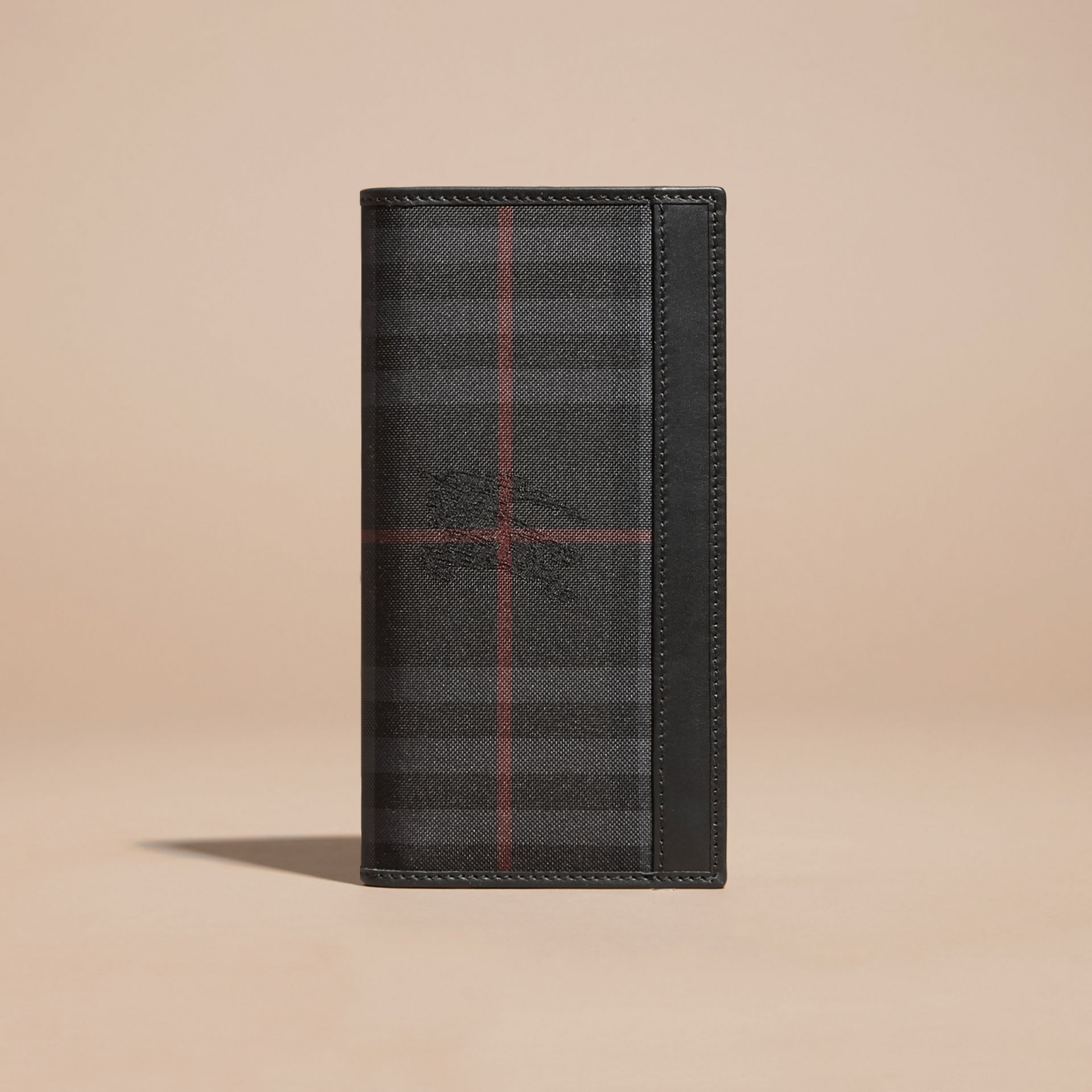 Small Horseferry Check Currency Wallet in Charcoal/black - Men | Burberry Australia - gallery image 6