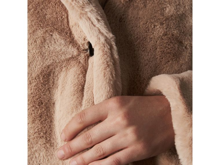 Faux Fur Single-breasted Car Coat in Nude - Women | Burberry - cell image 4