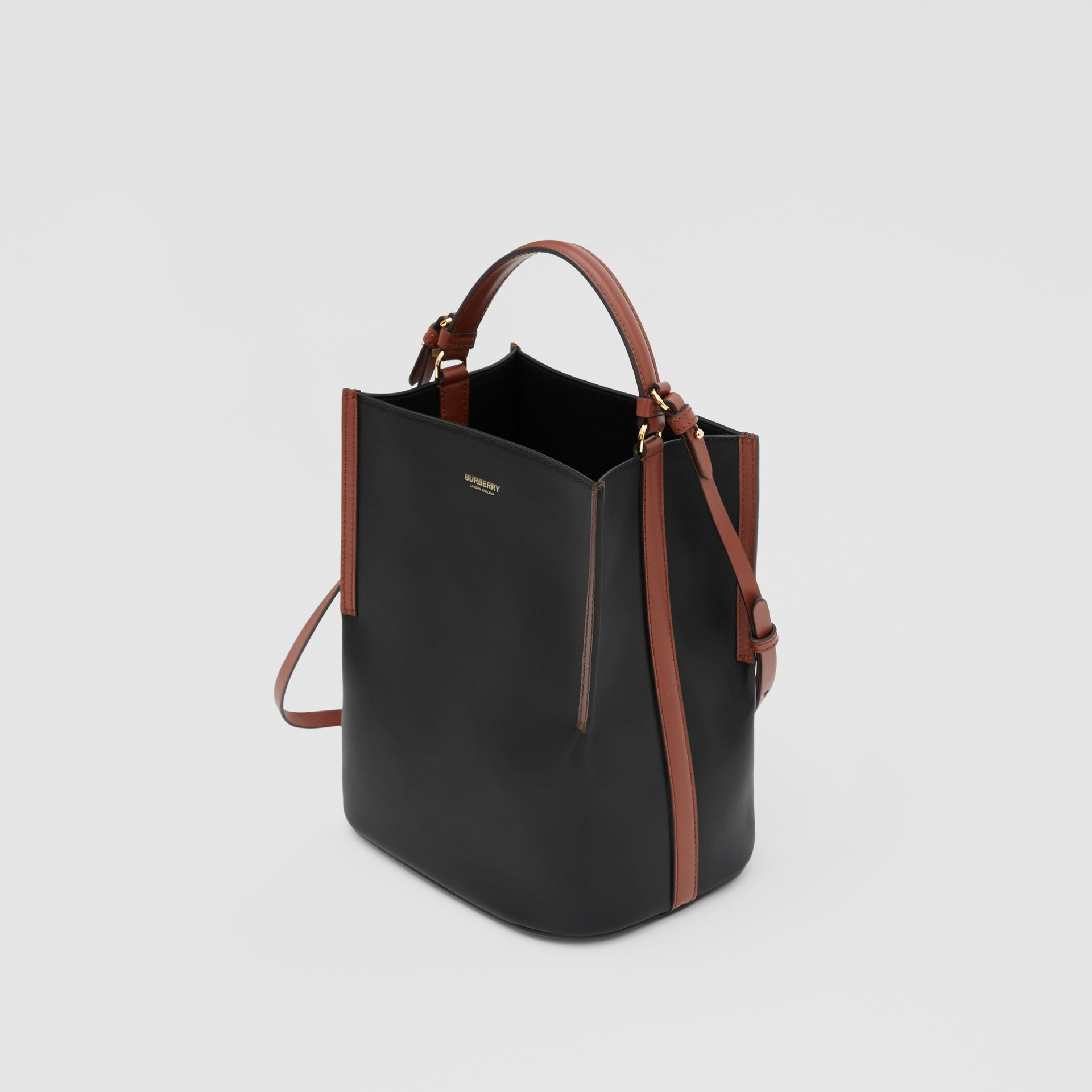 Small Two-tone Leather Peggy Bucket Bag in Black - Women | Burberry - gallery image 3