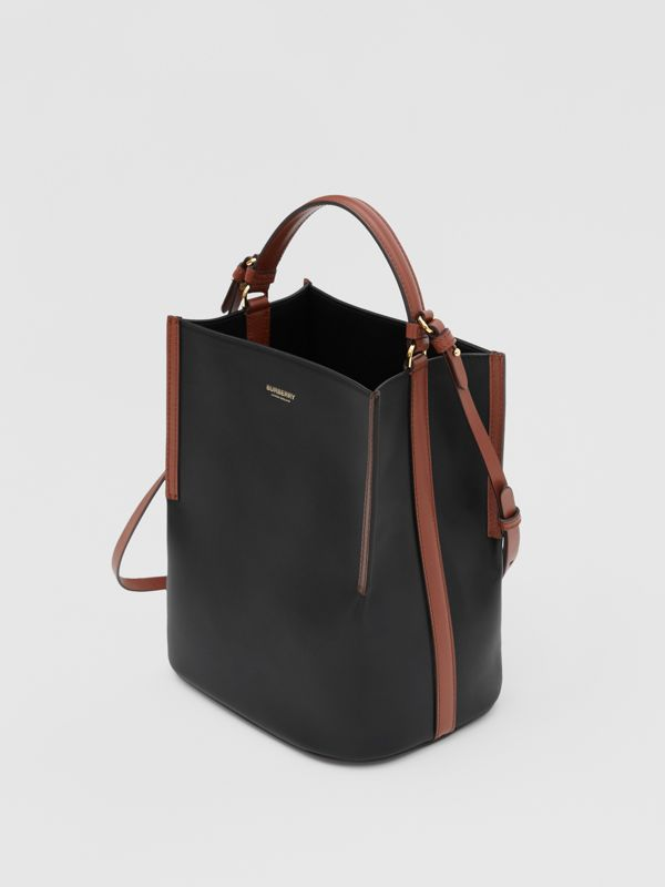 Small Two-tone Leather Peggy Bucket Bag in Black - Women | Burberry - cell image 3