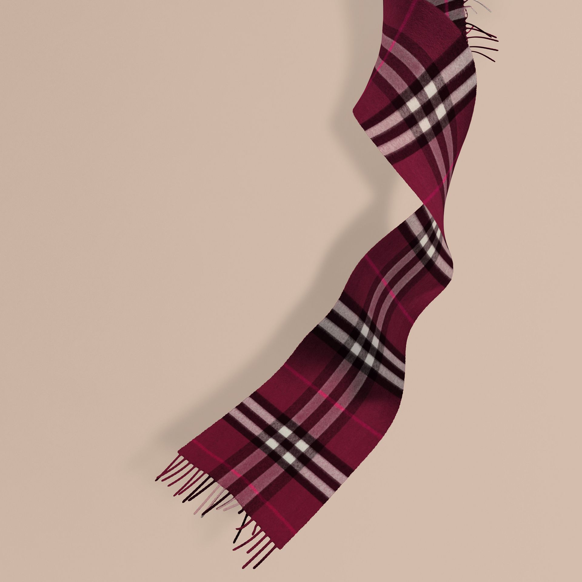 The Mini Classic Cashmere Scarf in Check in Plum | Burberry - gallery image 1