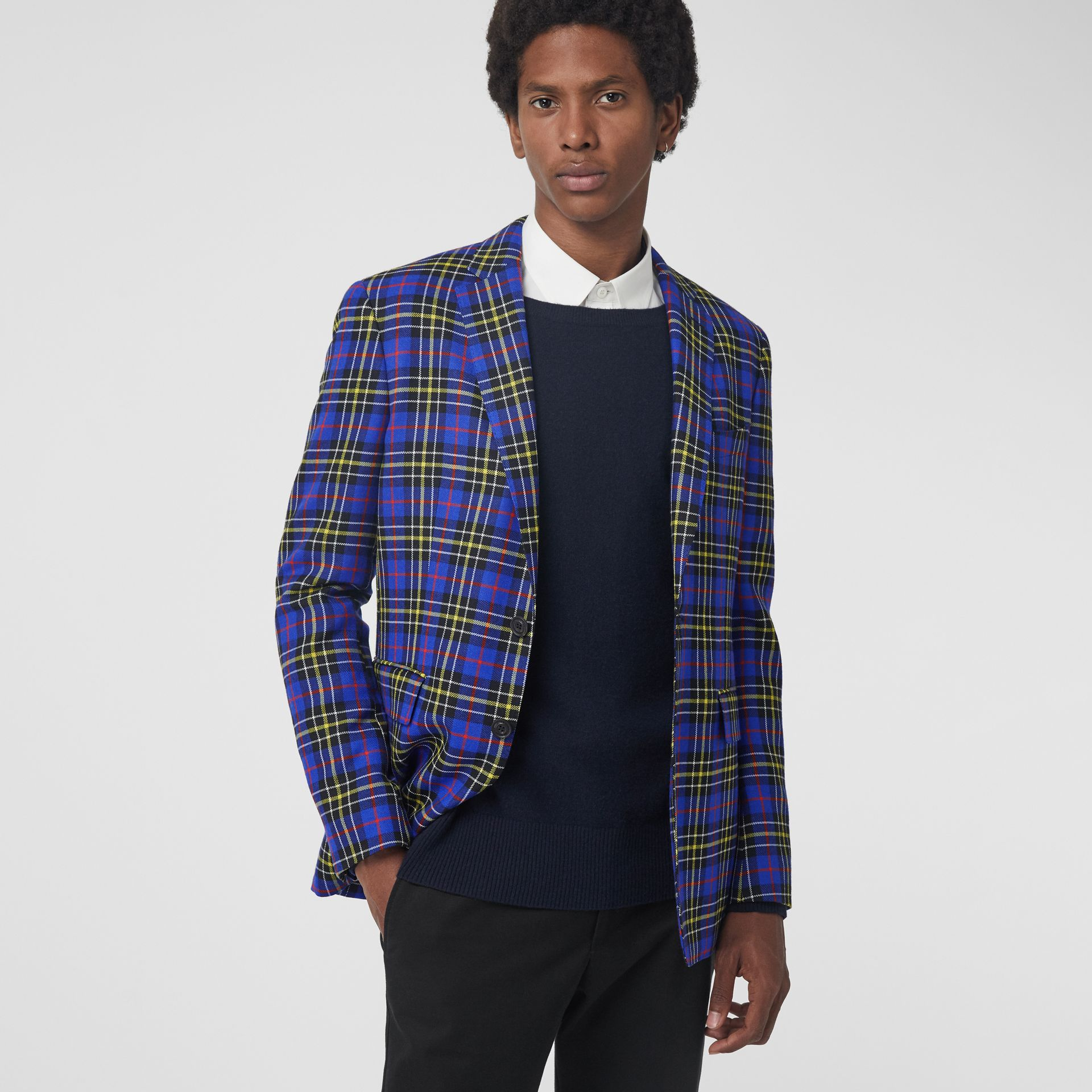 Classic Fit Tartan Wool Tailored Jacket in Sapphire Blue - Men | Burberry Singapore - gallery image 3