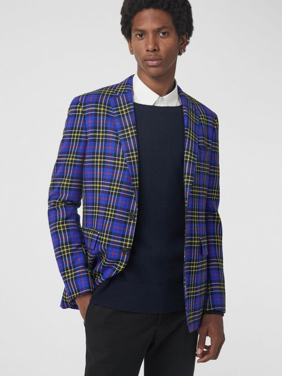 Classic Fit Tartan Wool Tailored Jacket in Sapphire Blue