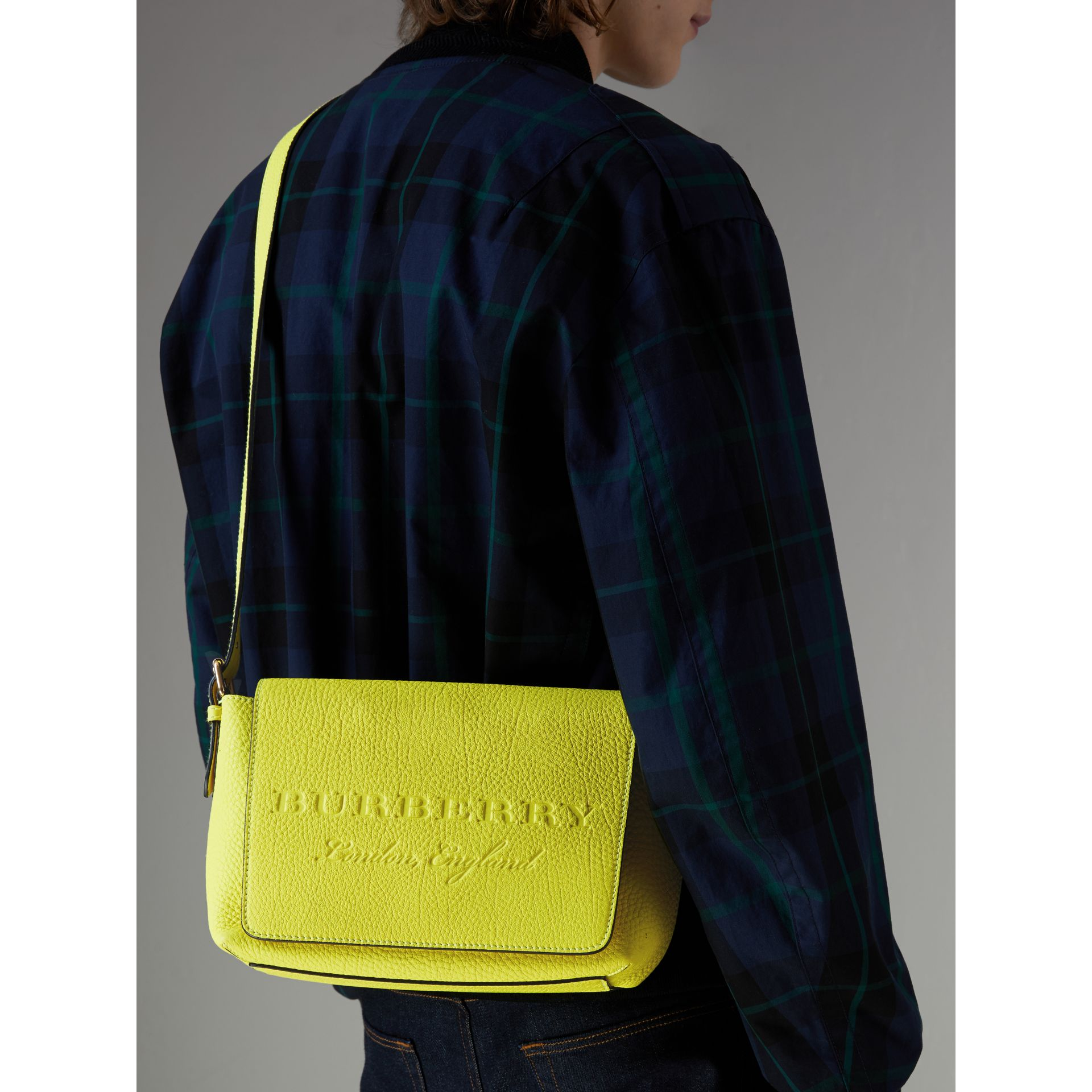 Small Embossed Neon Leather Messenger Bag in Yellow | Burberry - gallery image 5