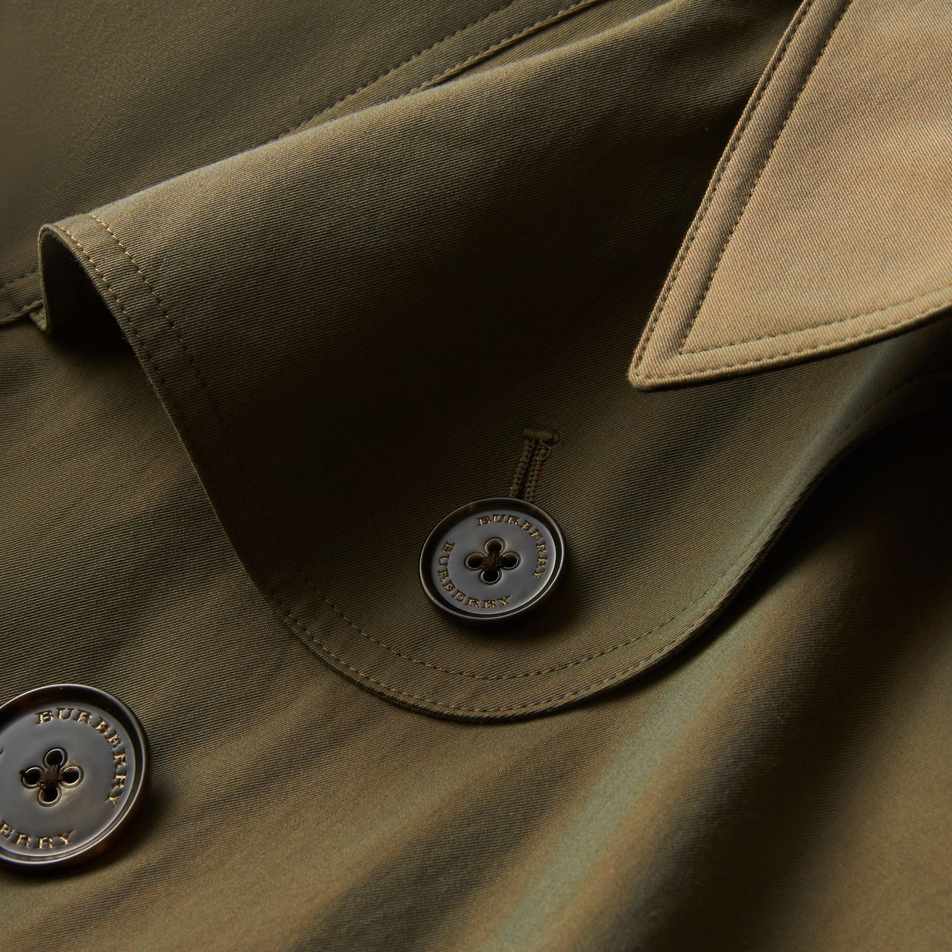 Tropical Gabardine Cape with Check Detail in Bright Olive - Women | Burberry Australia - gallery image 2