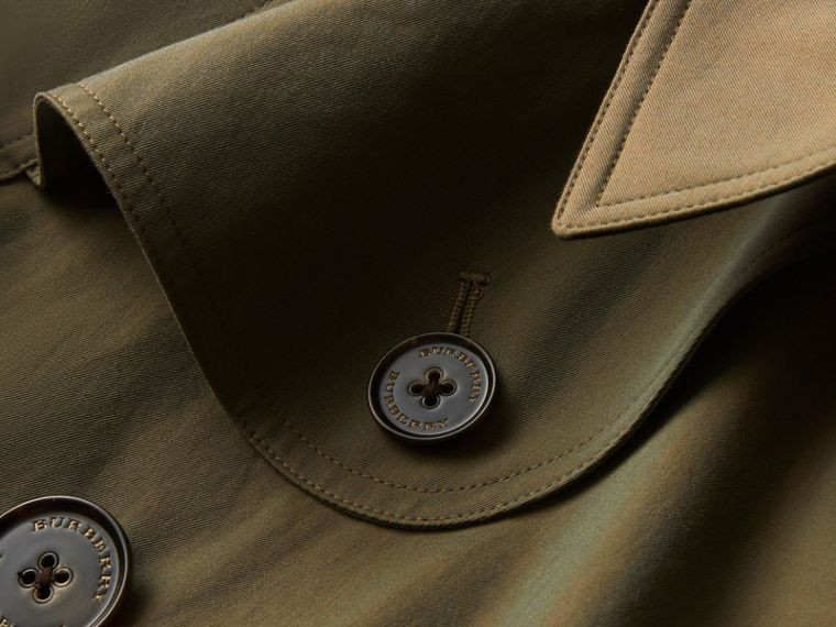 Tropical Gabardine Cape with Check Detail in Bright Olive - Women | Burberry - cell image 1