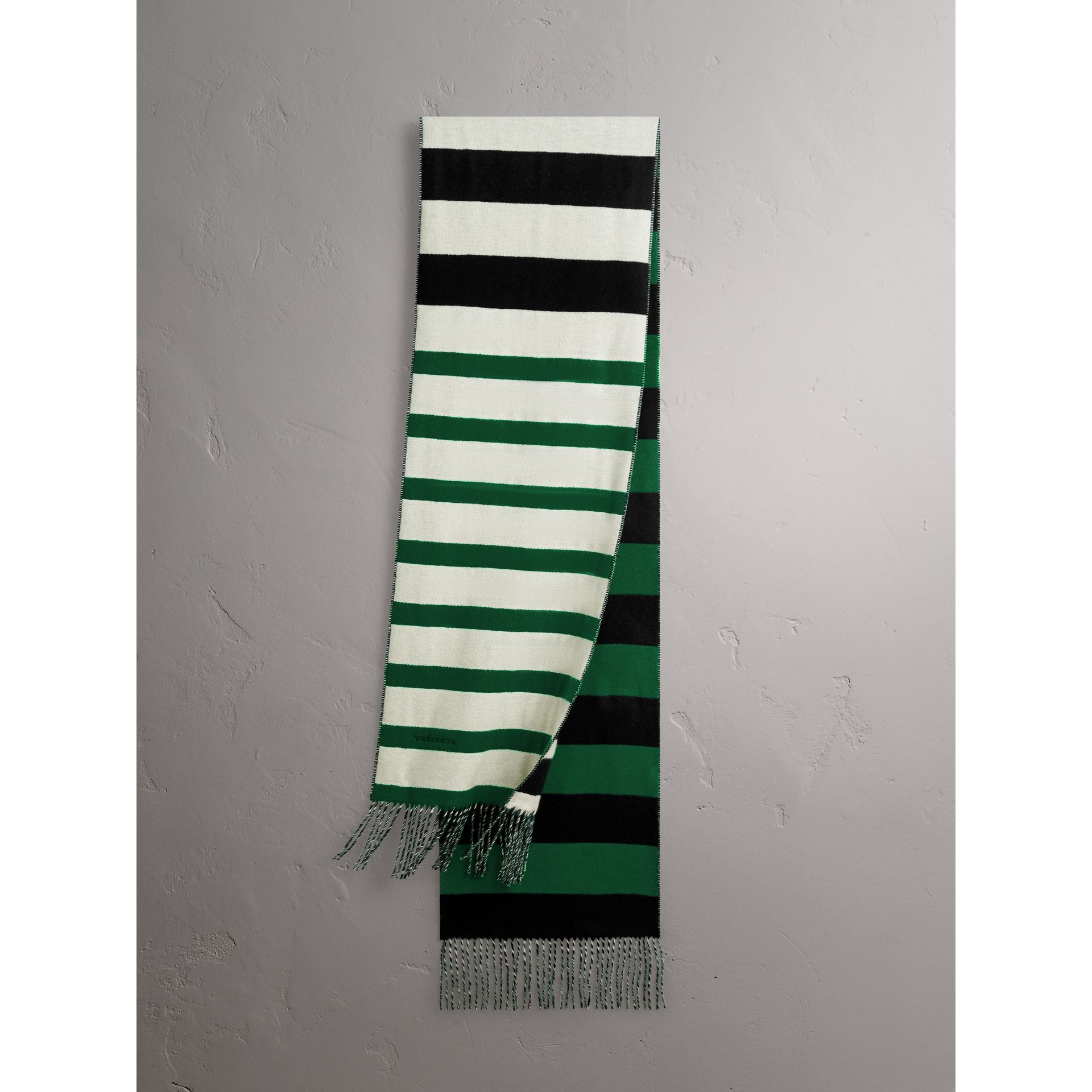 Colour-block Striped Wool Cashmere Scarf in Emerald Green/black | Burberry - gallery image 5