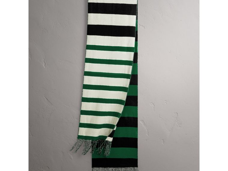 Colour-block Striped Wool Cashmere Scarf in Emerald Green/black | Burberry - cell image 4