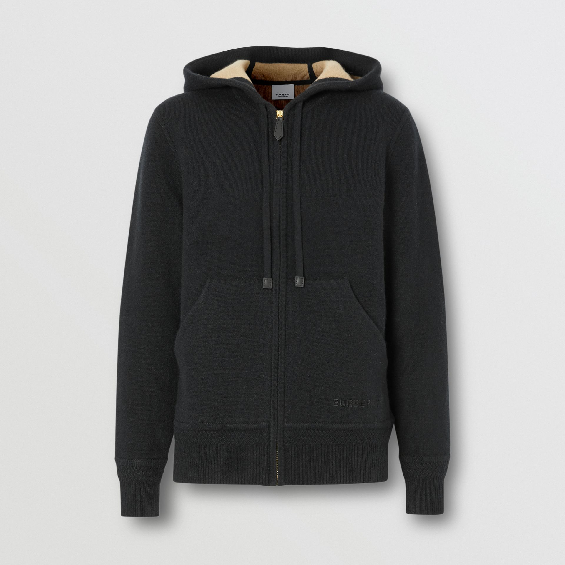 Embroidered Logo Cashmere Hooded Top in Black - Women | Burberry - gallery image 3