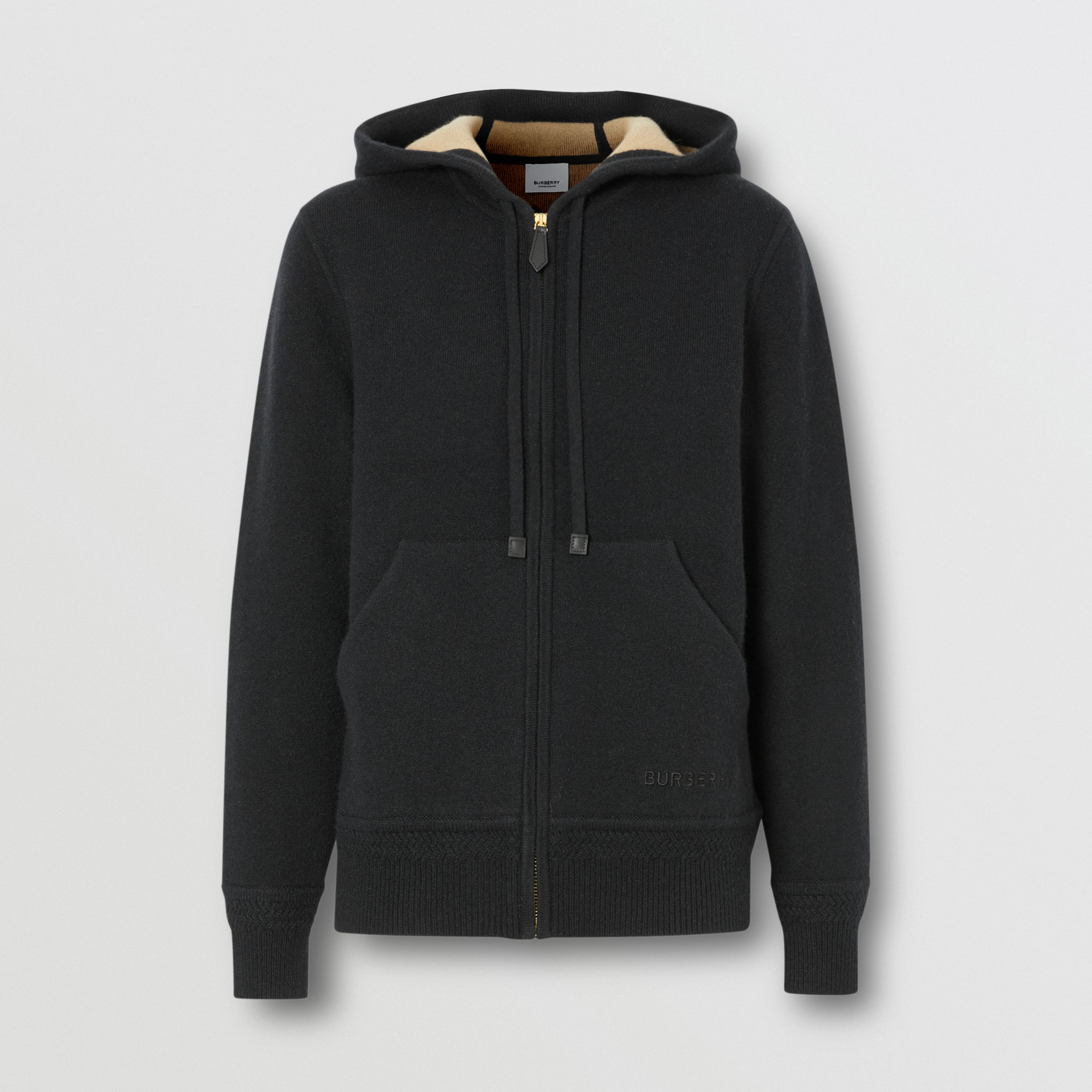 Embroidered Logo Cashmere Hooded Top in Black - Women | Burberry - 4