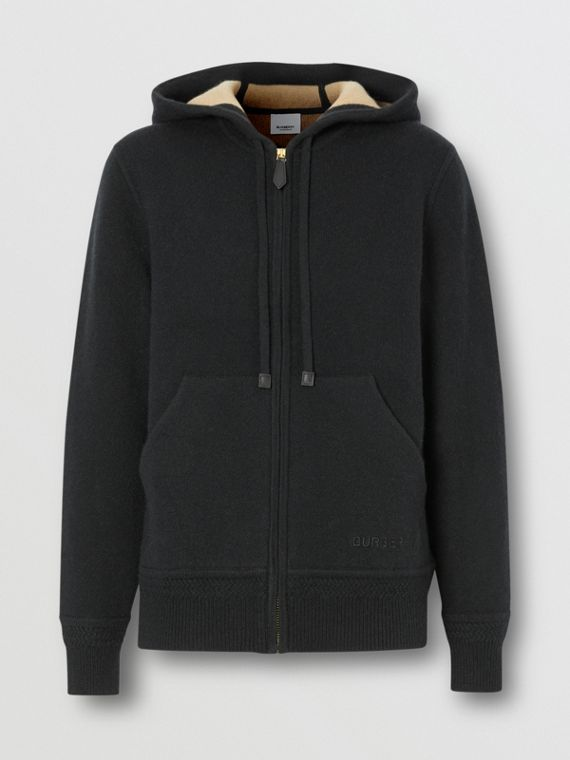 Embroidered Logo Cashmere Hooded Top in Black