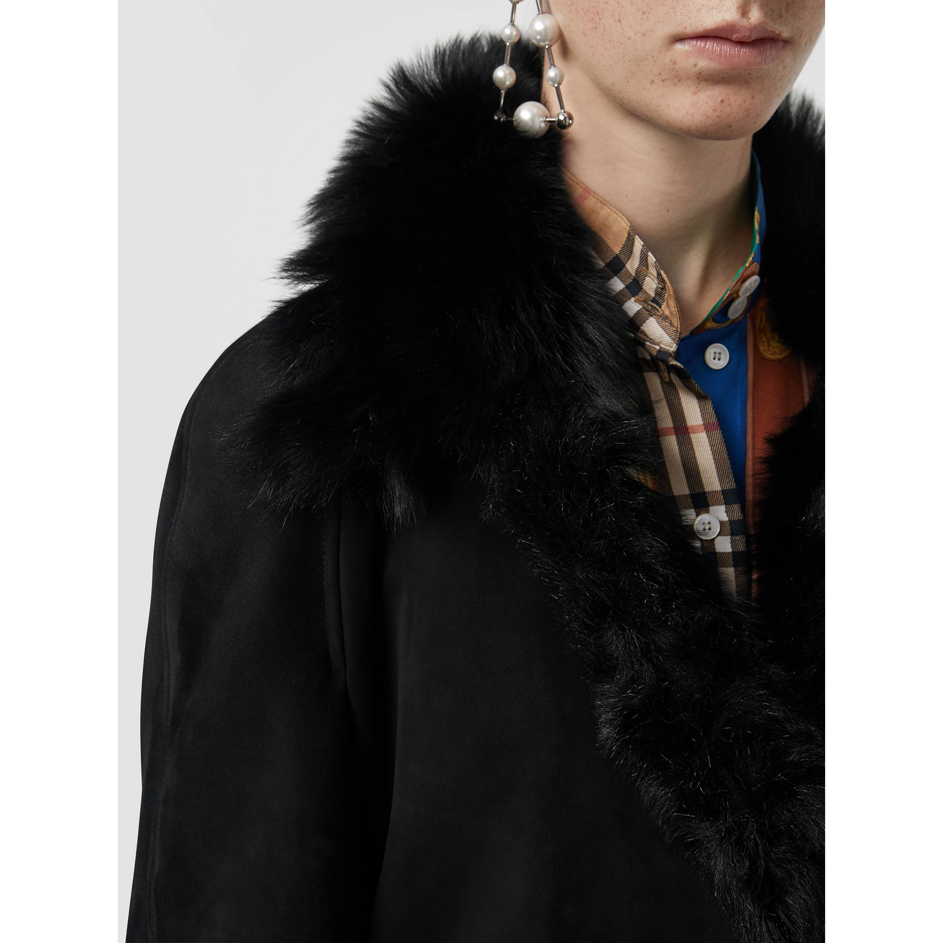 Shearling Car Coat in Black - Women | Burberry - gallery image 1
