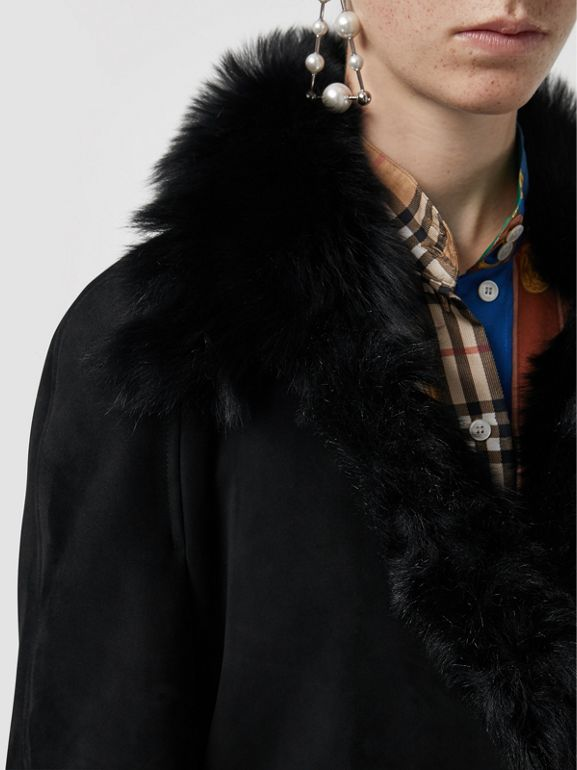 Shearling Car Coat in Black - Women | Burberry - cell image 1