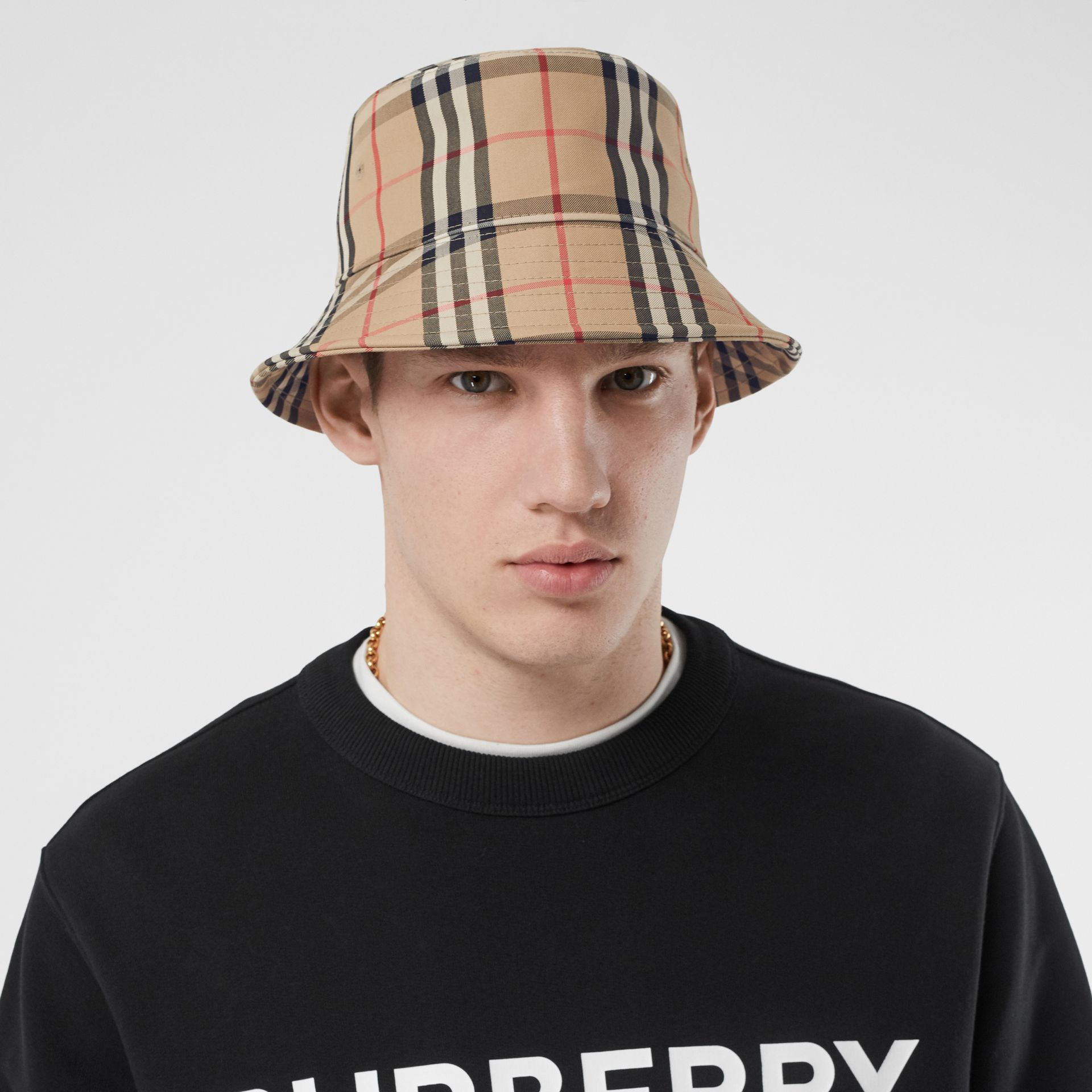 Vintage Check Cotton Blend Bucket Hat in Archive Beige | Burberry United Kingdom - gallery image 3