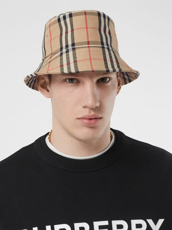 Vintage Check Cotton Blend Bucket Hat in Archive Beige | Burberry United Kingdom - cell image 3