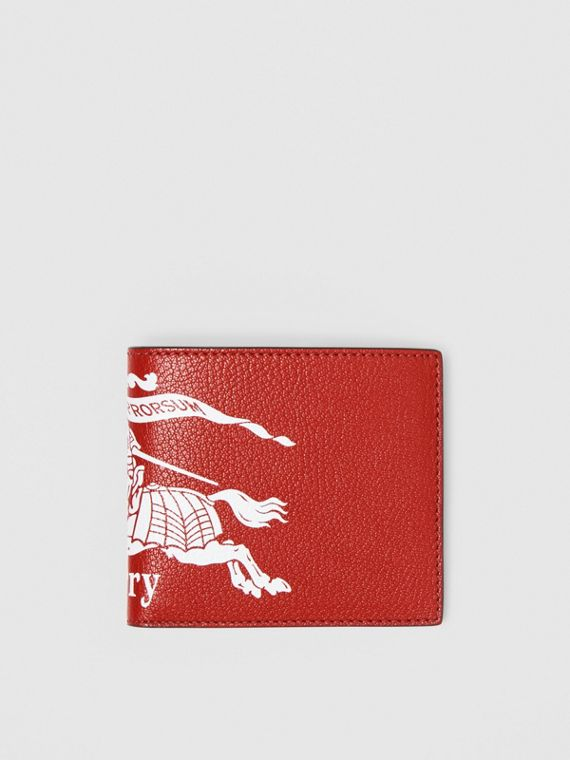 Contrast Logo Leather International Bifold Wallet in Rust Red/black