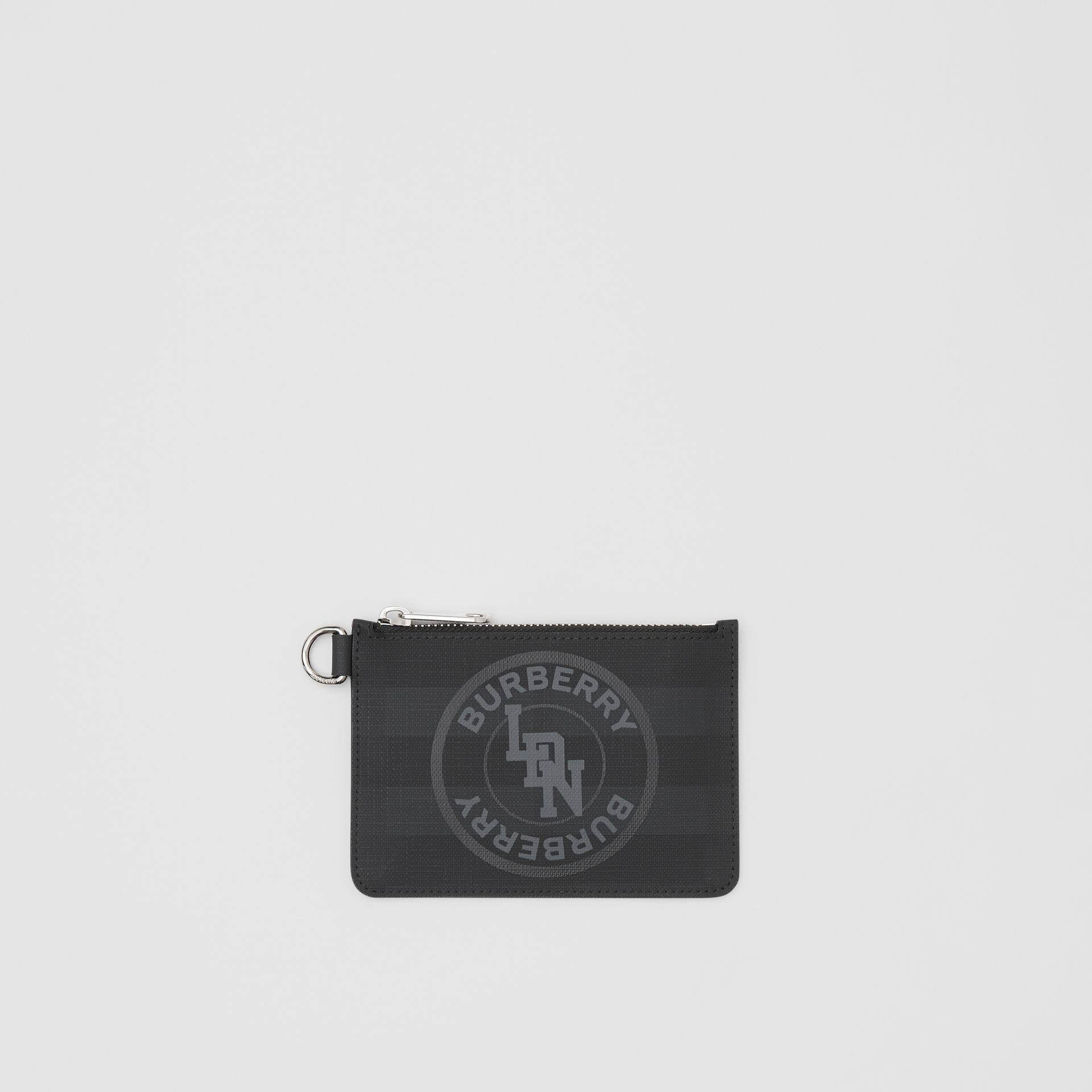 Logo Graphic London Check Zip Coin Case in Dark Charcoal - Men | Burberry - gallery image 0