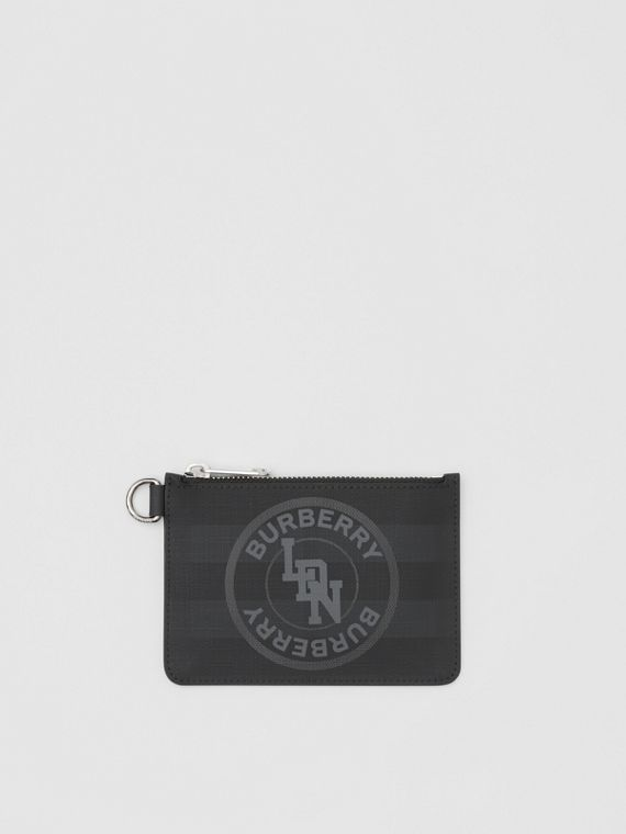 Logo Graphic London Check Zip Coin Case in Dark Charcoal