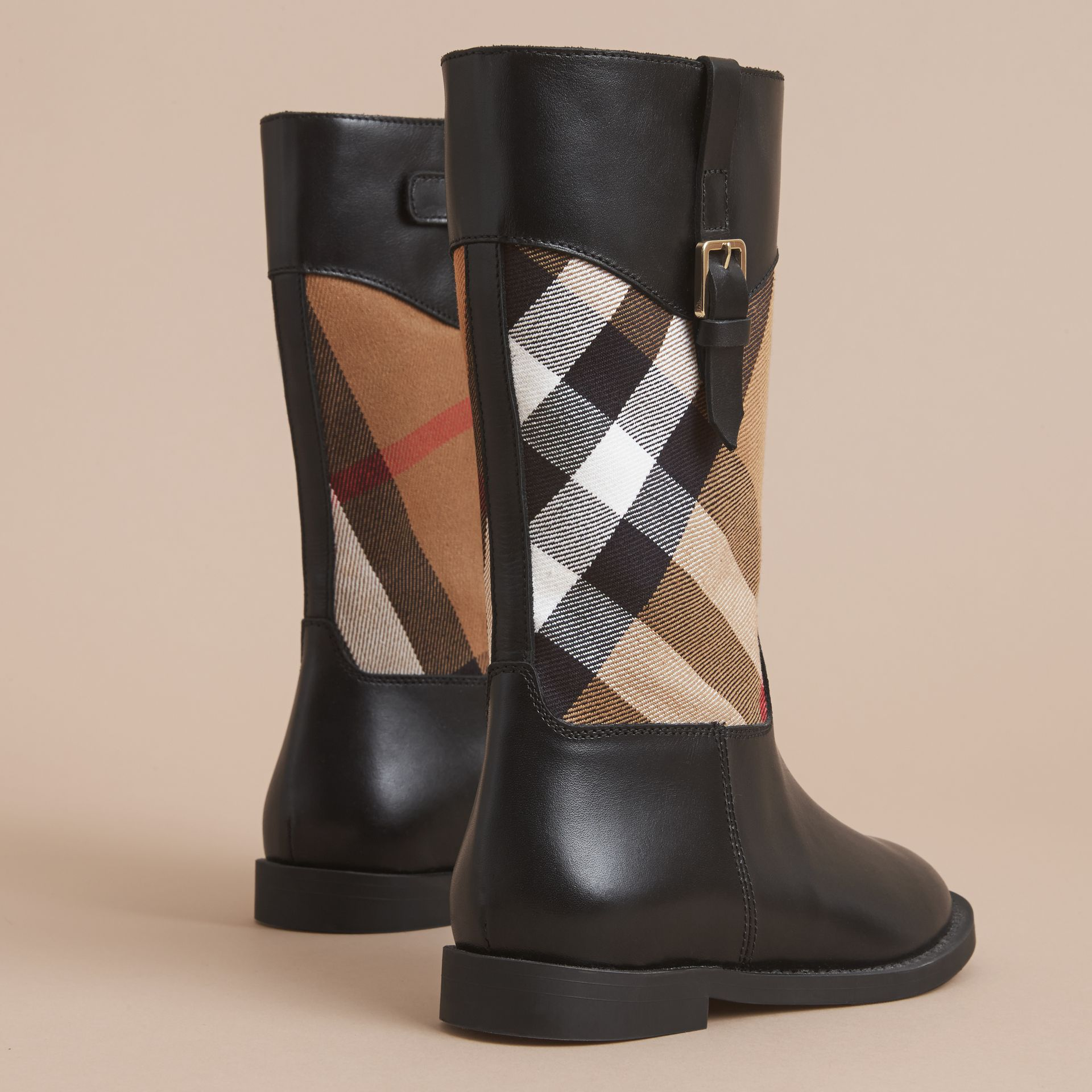 House Check and Leather Boots in Hc / Black | Burberry - gallery image 4