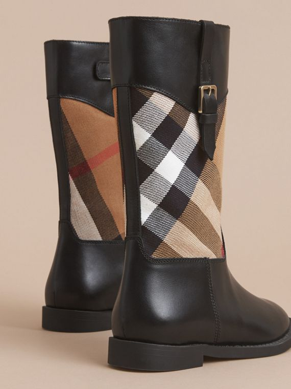 House Check and Leather Boots in Hc / Black | Burberry - cell image 3