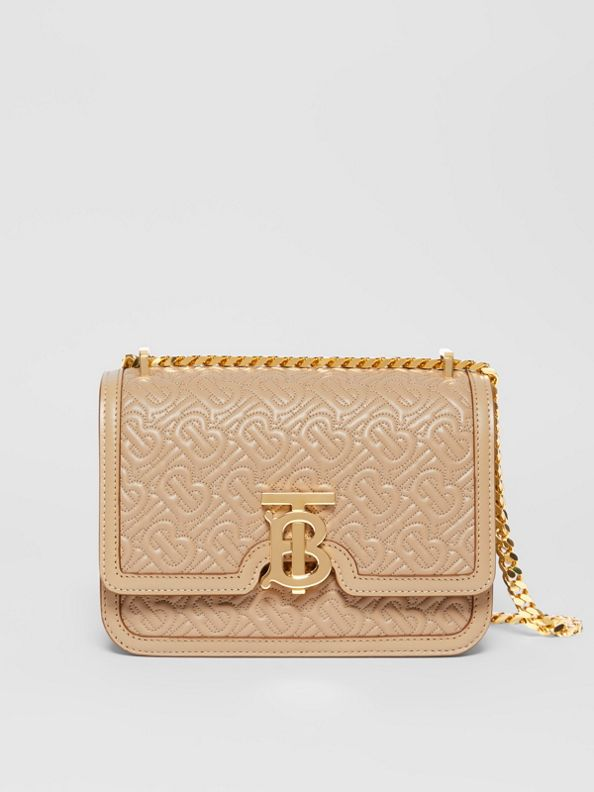 Small Quilted Monogram Lambskin TB Bag in Honey