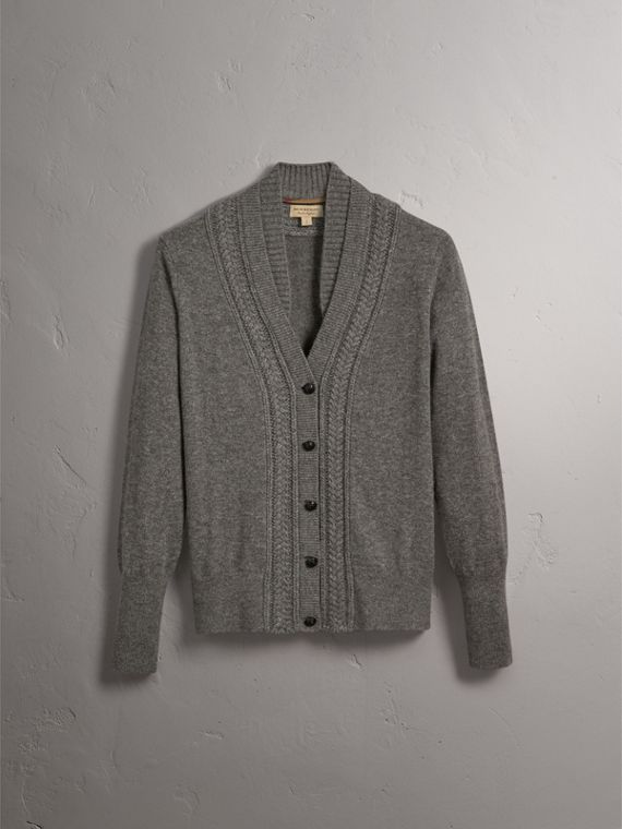 Cable Knit Detail Cashmere Cardigan in Mid Grey Melange - Women | Burberry - cell image 3
