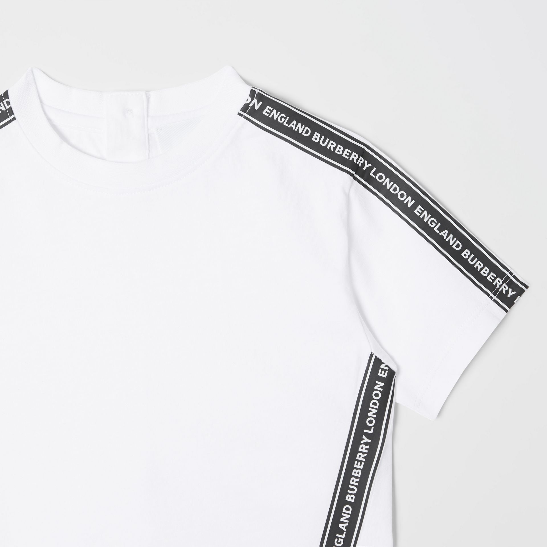 Logo Tape Cotton T-shirt in White - Children | Burberry - gallery image 5