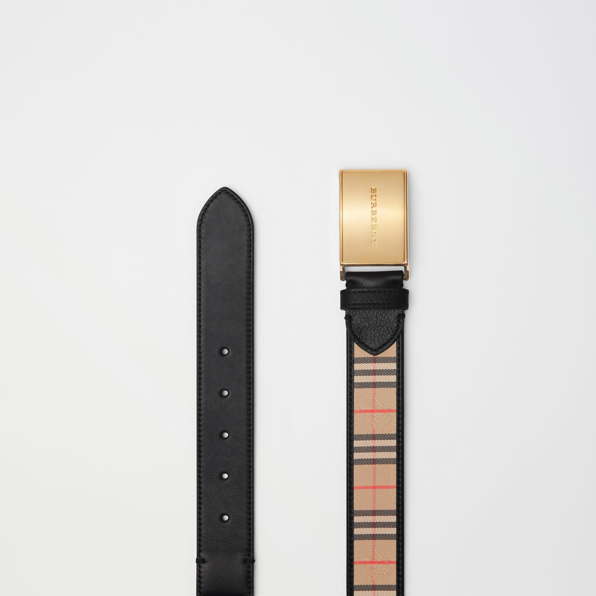 Plaque Buckle 1983 Check and Leather Belt in Black - Men | Burberry - gallery image 5