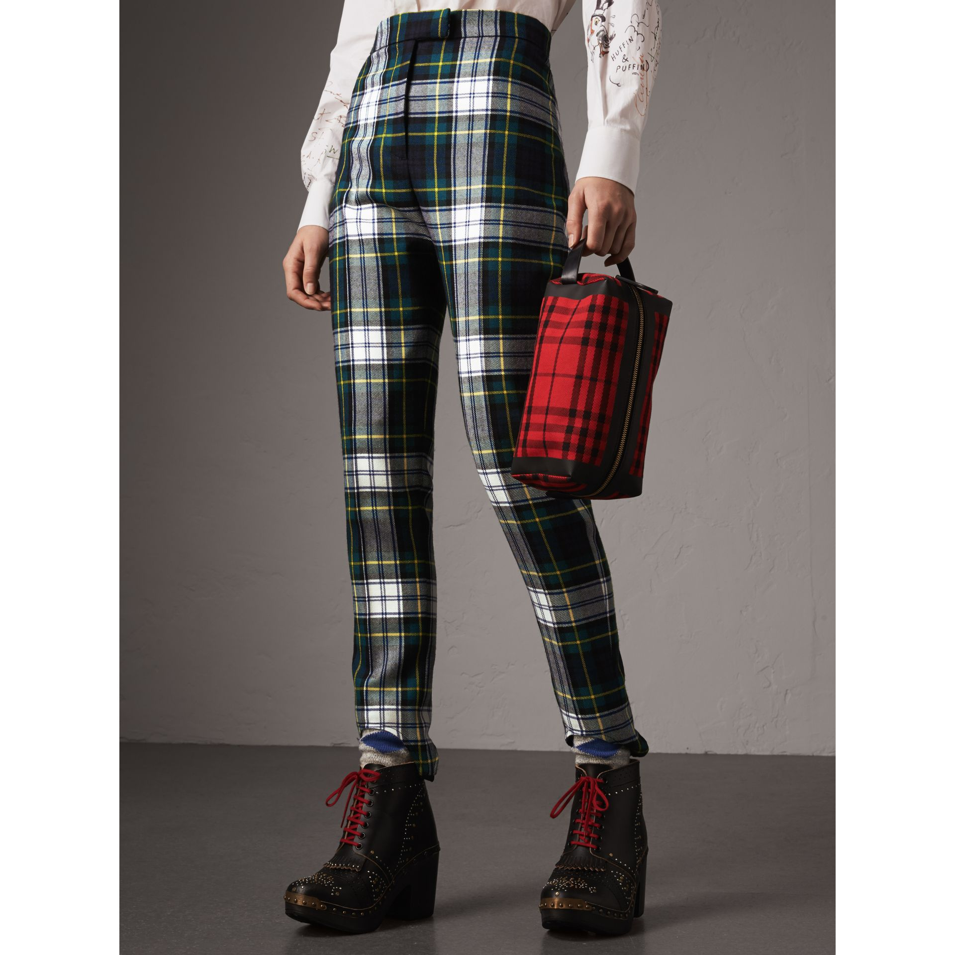 Tartan Wool High-waisted Stirrup Trousers in Ink Blue - Women | Burberry - gallery image 4