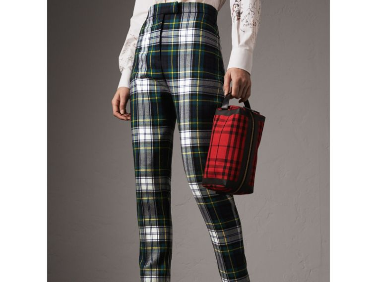 Tartan Wool High-waisted Stirrup Trousers in Ink Blue - Women | Burberry United Kingdom - cell image 4