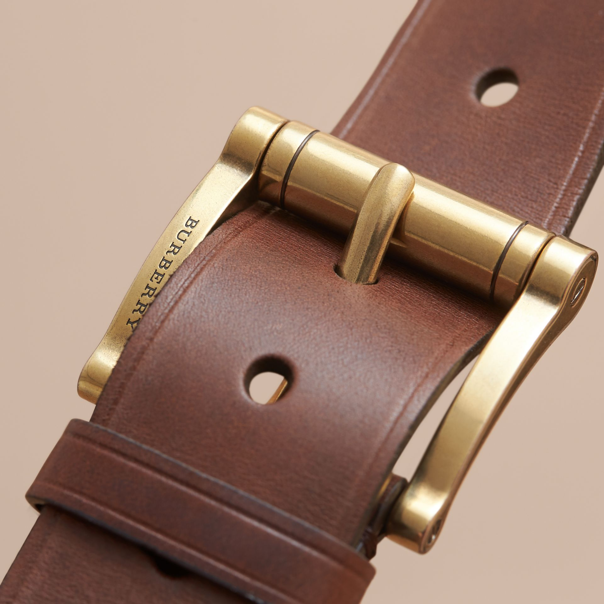 Brass Buckle Leather Belt in Auburn - Men | Burberry Australia - gallery image 2