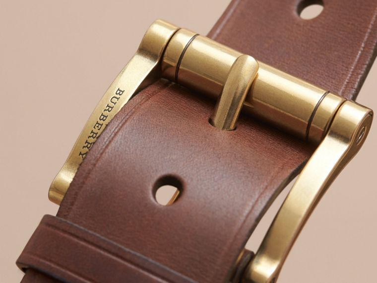 Brass Buckle Leather Belt in Auburn - Men | Burberry Australia - cell image 1