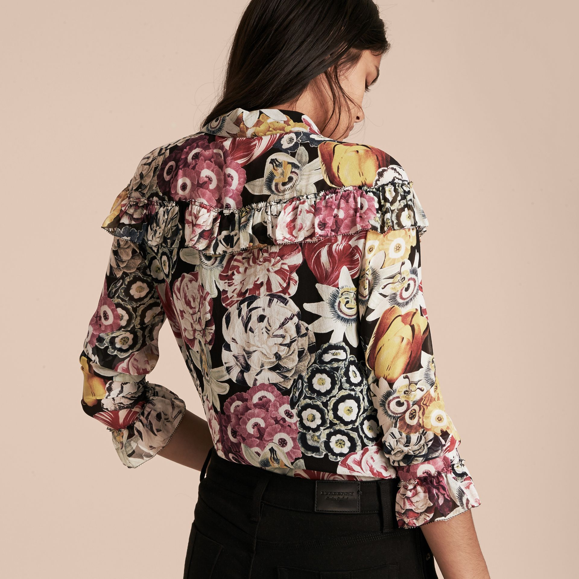 Black Floral Silk Georgette Frill Detail Shirt - gallery image 3