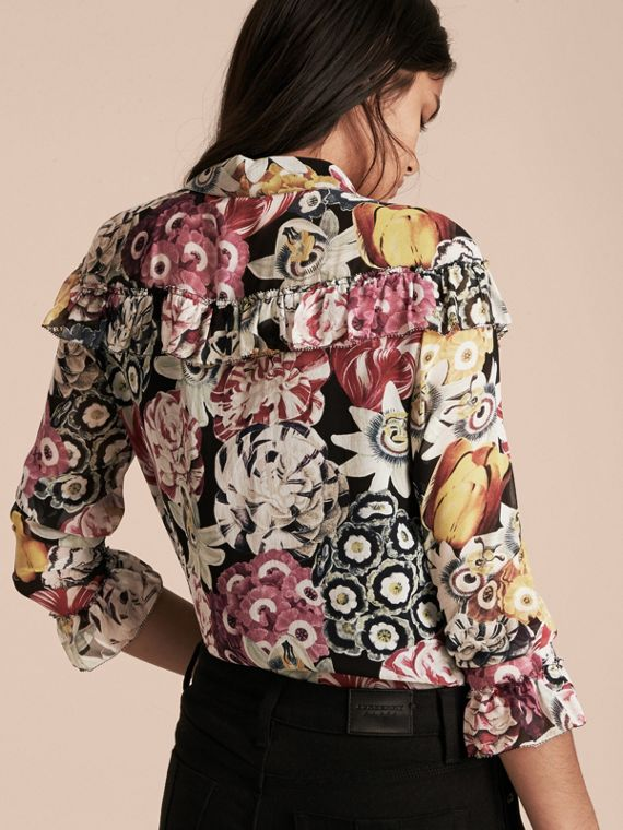 Black Floral Silk Georgette Frill Detail Shirt - cell image 2