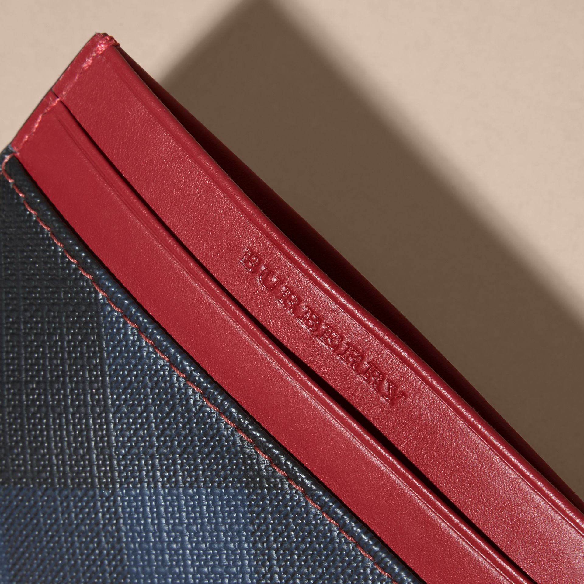London Check and Leather Card Case in Parade Red - gallery image 2