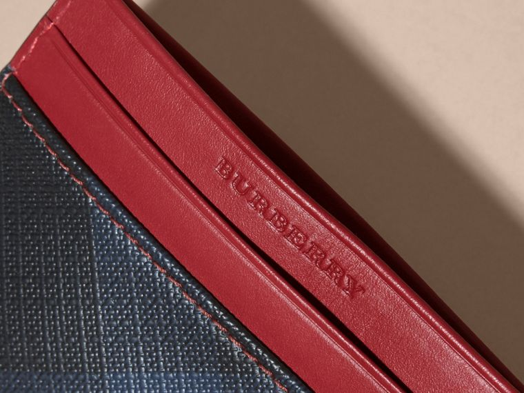 London Check and Leather Card Case in Parade Red - cell image 1