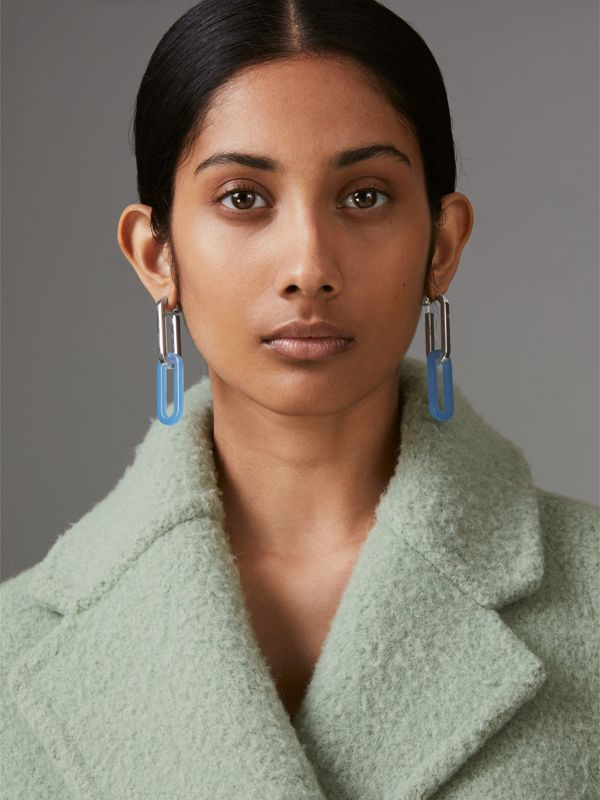 Glass and Palladium-plated Link Drop Earrings in Palladio/blue - Women | Burberry Singapore - cell image 2