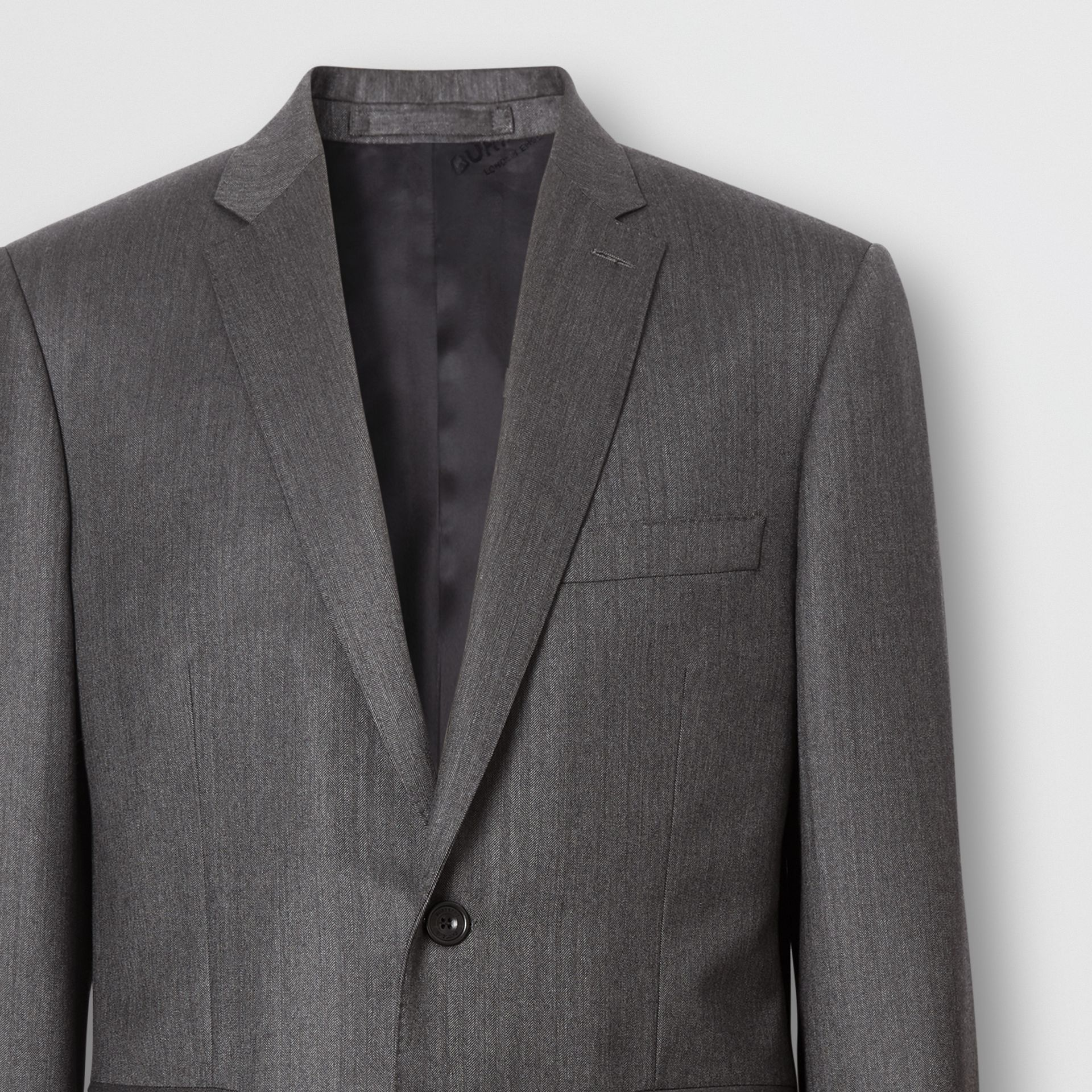 Slim Fit Herringbone Wool Suit in Mid Grey - Men | Burberry - gallery image 1