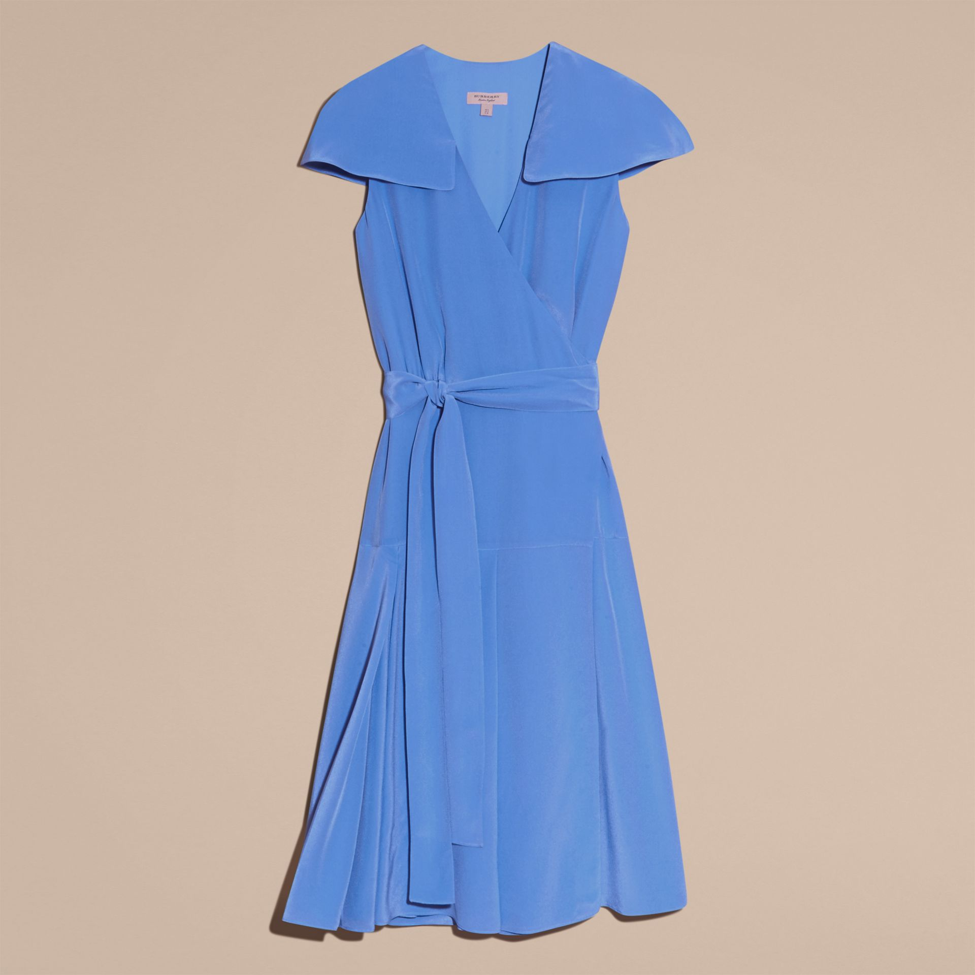 Cornflower Cape Detail Silk Wrap Dress Cornflower - gallery image 4